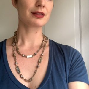 Double Wrap Gold Tone Beaded Chain Necklace